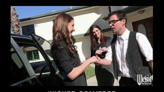 Pair of sisters bribe their car salesman into a threesome 5 min 720p