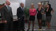 Two busty blondes (Lexi Swallow, Nicole Aniston) get fucked in office 4some – BRAZZERS 8 min 720p